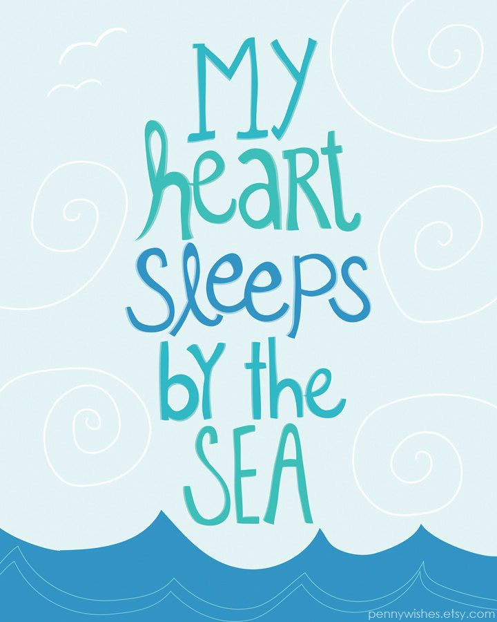 """My heart sleeps by the sea"" ocean art print with cute beach quote"