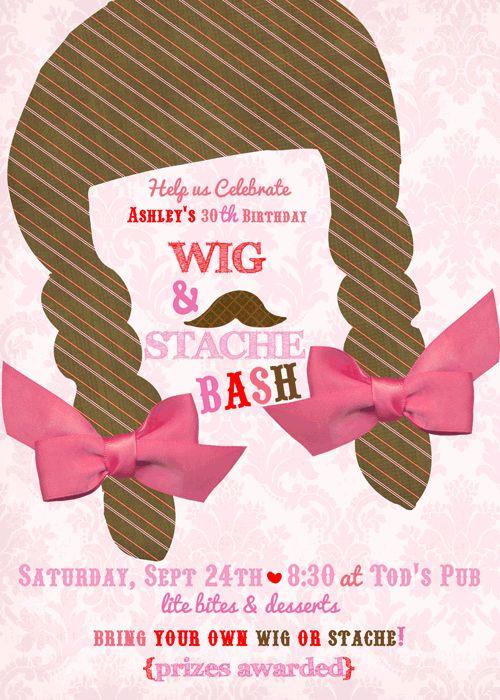Wigs and Stache Bash {5x7}-wig and mustache bash, wig and stache party invite, stache bash, stach bash invite, party box design, party decor, 30th birthday invites, mustach party invitations, wig party invite