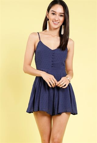a3d213218c9 Polka-Dot Button-Detail Cami Romper Papaya Clothing