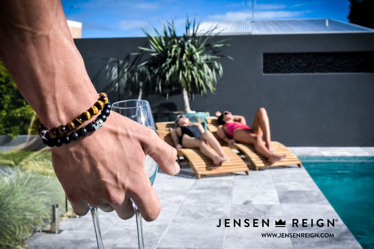 Bracelets by Jensen Reign - Tiger Eye and Matt Black Onyx bracelets featuring solid 925 Skull and Crown. Be the King in You. #jrlife