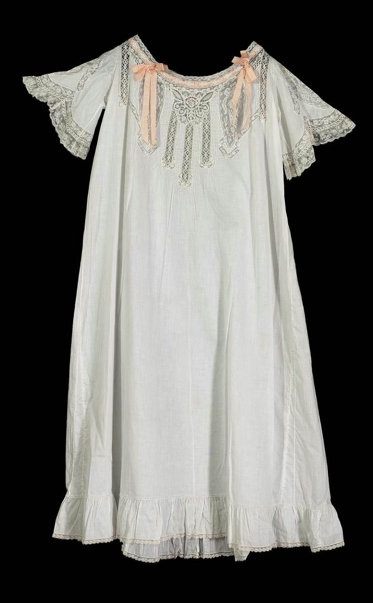 1900 France Nightgown Cotton Silk Ribbon Embroidery