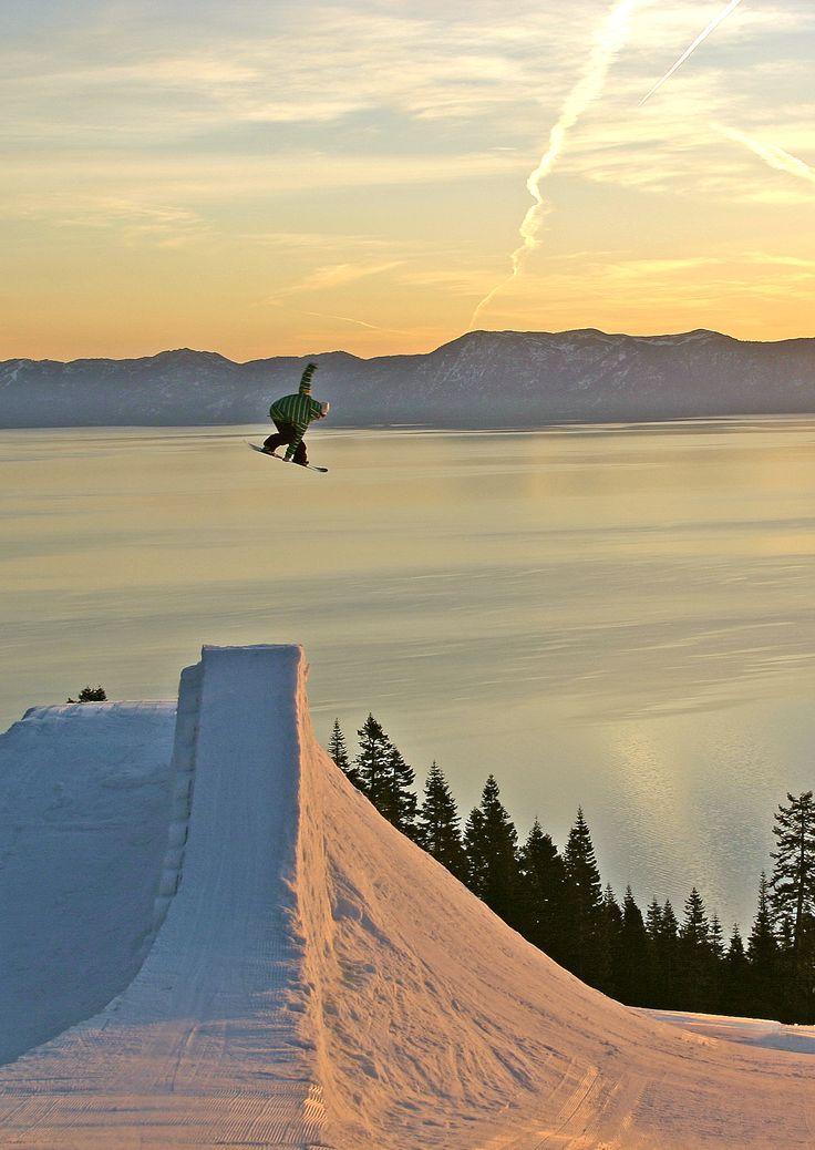 Snow boarding huge air