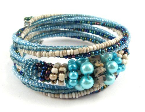Hand Beaded Wired Coil Bracelet Turquoise Blue, Navy, Ivory with Dalmatian Jasper - Fashion Jewelry