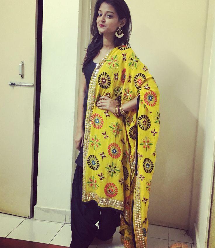 Simple fulkari suit  Indian wedding  Yellow and black kurta patiala  Punjabi suit