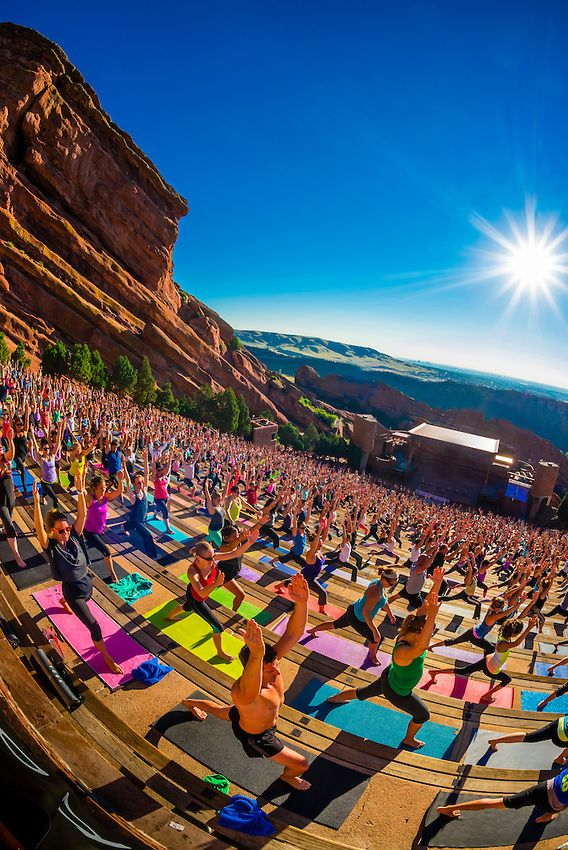 Yoga On The Rocks 2000 People Doing Yoga Together At Red Rocks Amphitheatre Morrison Denver Colo Red Rock Amphitheatre Outdoor Fire Pit Designs Fire Pit