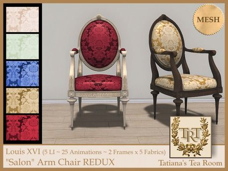 """TTR-Louis XVI """"Salon"""" Arm Chair REDUX   #SecondLife"""