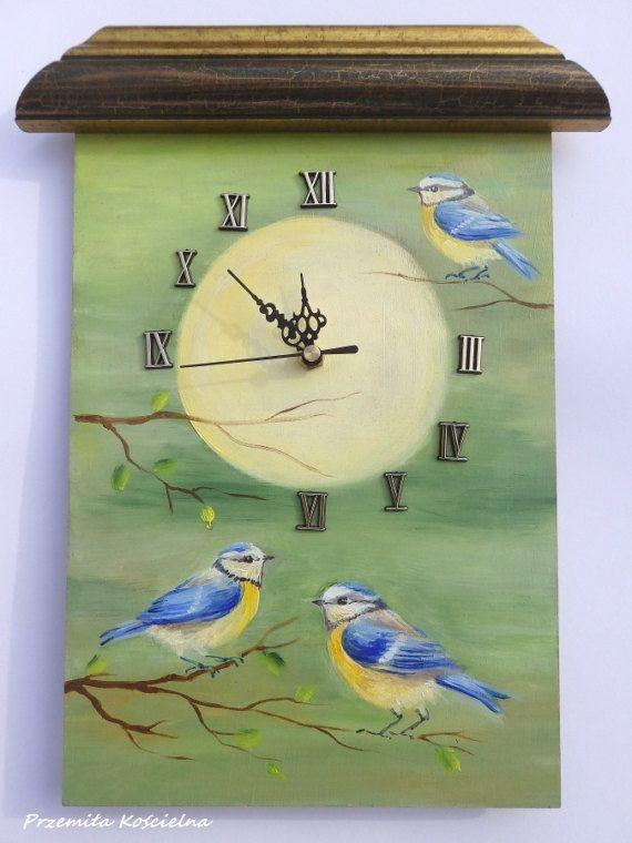BIRDS PAINTED CLOCK Blue Tit Wildlife Original by CanisArtStudio #birds #bluetit #birdlover #clock #painting #wildlife #canisartstudio #handmade #etsy