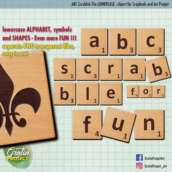 Scrabble Tiles  Wooden Letters Clip Art ABC 123 Lowercase