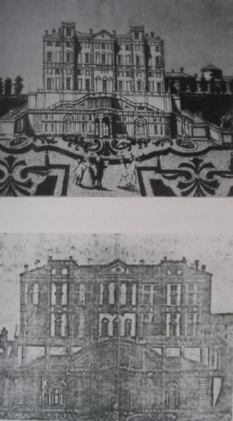 """(2006) stampe di fine settecento con veduta del giardino. Immagine tratta del volume P.Ferrario, """"Nobili Dimore. Residenze storiche a Limbiate e Mombello""""."""