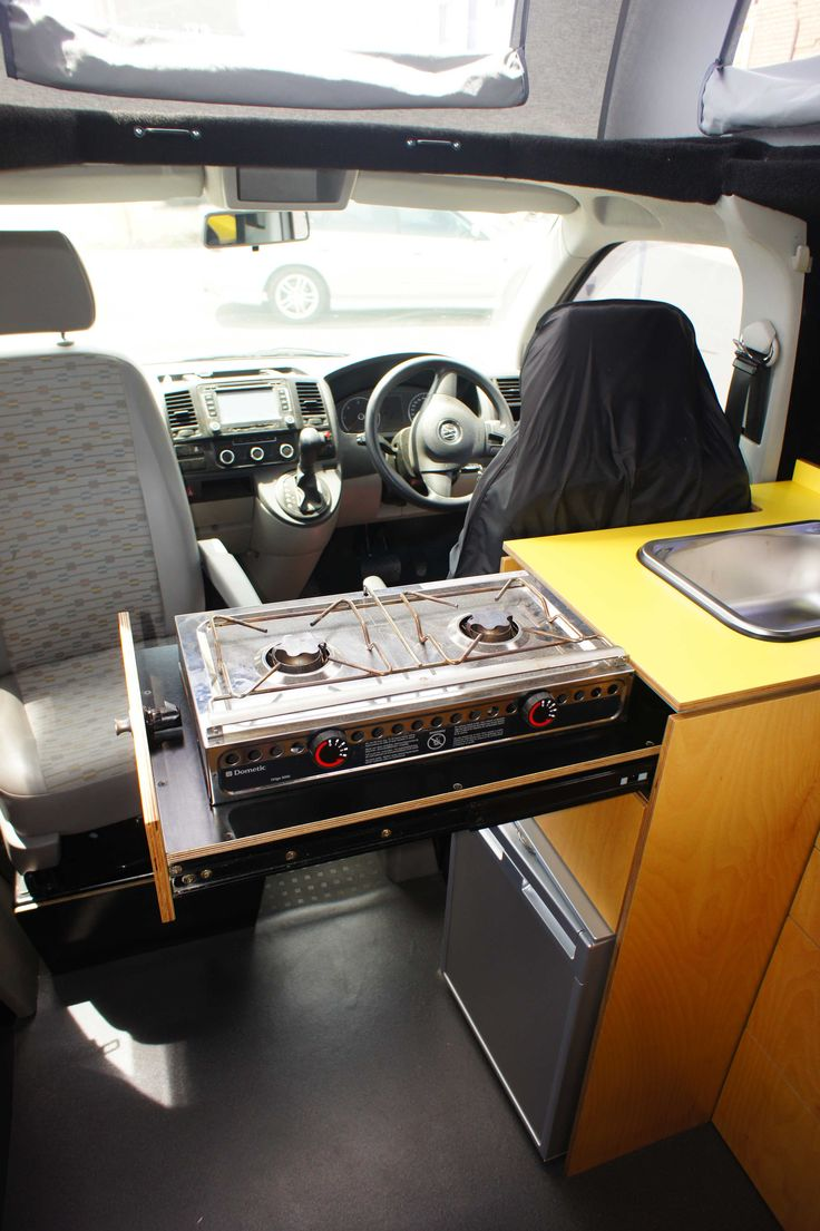Pull out cooking bench in Achtung Camper campervan.