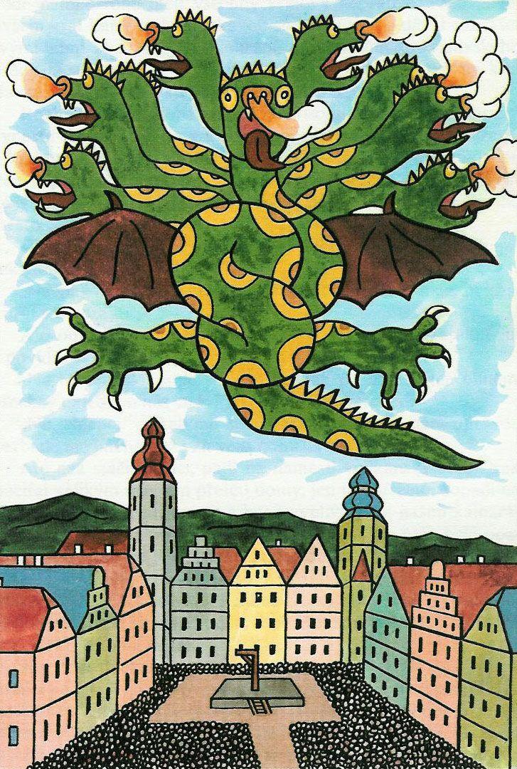 Dragon drawn by Josef Lada.