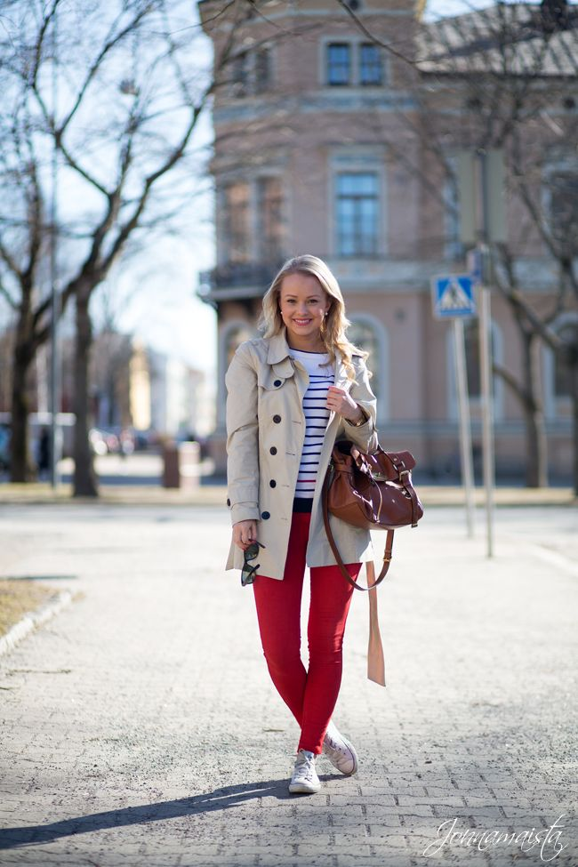 Preppy Red & Stripes: Red pants with stripes