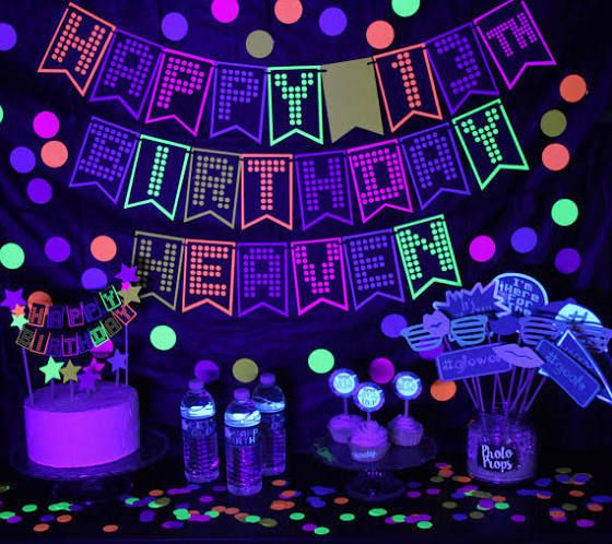 glow in the dark neon party decorations