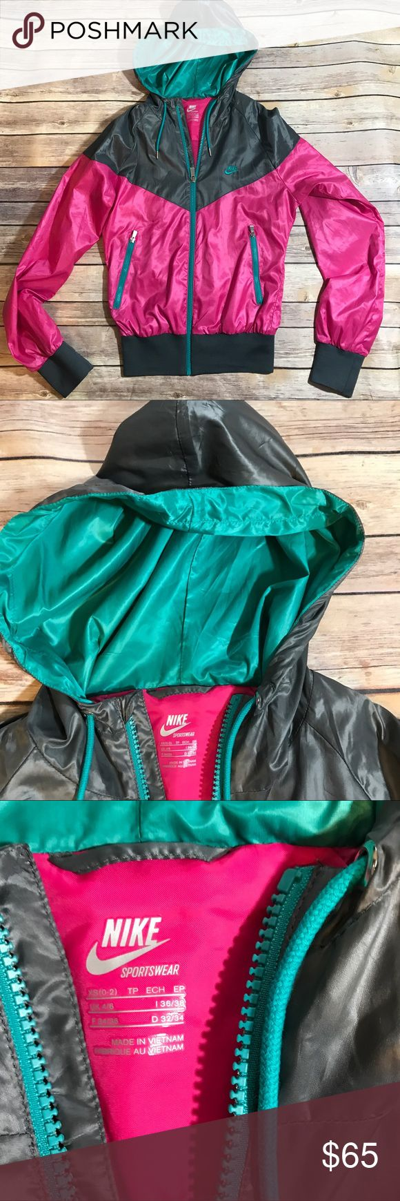 Nike Windrunner jacket Iconic Nike Windrunner jacket in excellent condition!  Pink and grey with teal details. No trades. Nike Jackets & Coats