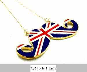 British Flag Mustache Necklace