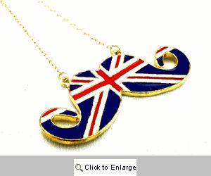 British Flag Mustache Necklace