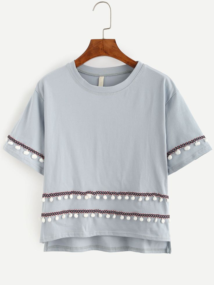 Grey Embroidered Tape Detail Pom Pom T-shirt -SheIn(Sheinside)
