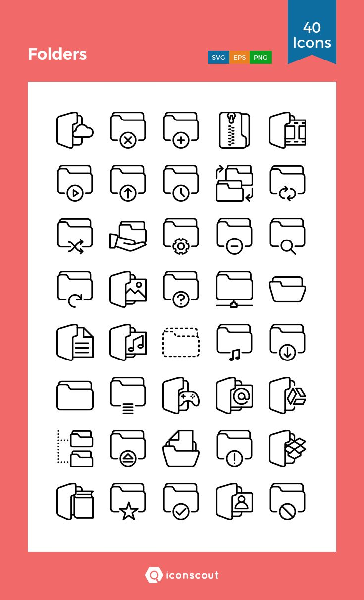 Folders  Icon Pack - 40 Line Icons