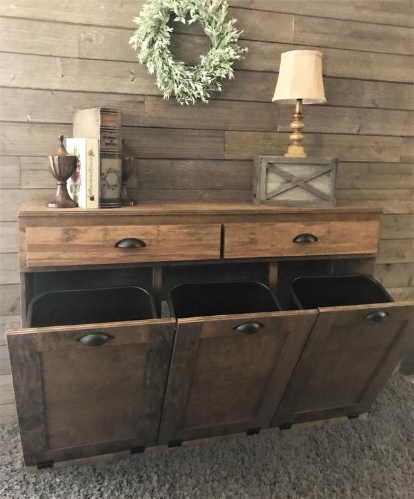 Triple Tilt Out Trash Bin With Storage Drawers Warm Brown 3reg Draw Prov Farmhouse Living Room Furniture Kitchen Trash Cans Trash Bins #trash #can #for #living #room
