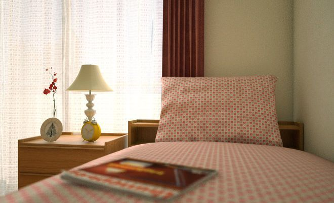 ベッド上のイメージベッド上のイメージ 今回使用しているベッドは宮付きですが、ライトなどを置きたい場合はやはりミニチェストがあると便利です。 ベッドカバーはピンクの花柄ドット、カーテンは落ち着いたエンジ色、ラグは少し元気なオレンジといった具合に、 だいたい暖色系でまとめています。