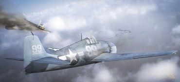 예술, 하늘, 비행기, 비행기 싸움, 연기, 필리핀 해, 제 2 차 세계 대전 전투