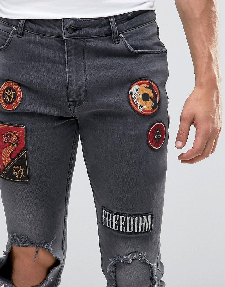 Image 3 of ASOS Skinny Jeans With Badges And Rip Detail