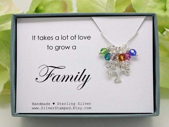 Gift for grandma Family tree necklace Sterling silver Tree