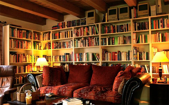 Cosy living room with books