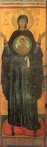 Богоматерь Оранта. Икона XIV века в монастыре Ватопед на Афоне. Фрагмент. Монастырь Ватопед на Святой Горе Афон.
