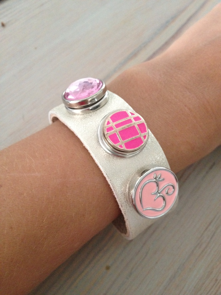 Champagne leather bracelet with Pink Nugz - similar to Noosa Amsterdam style