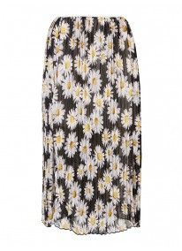 Floral-print pleated midi skirt Black/White