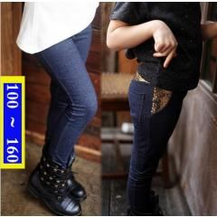 [ 40% OFF ] Imitated Denim Leggings On Girl Autumn Sequins Legging Fille Hiver Chaud Add Wool Korean Girls Elastic Pants Solid Color