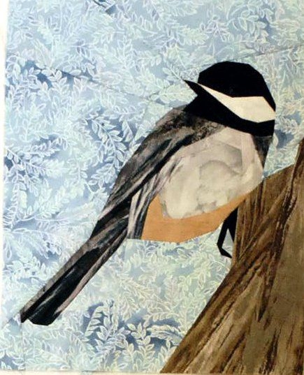 """Wee Chickadee"" offered by silverliningsoriginals.com/qc - paper pieced bird pattern - fabric kit for sale without pattern"