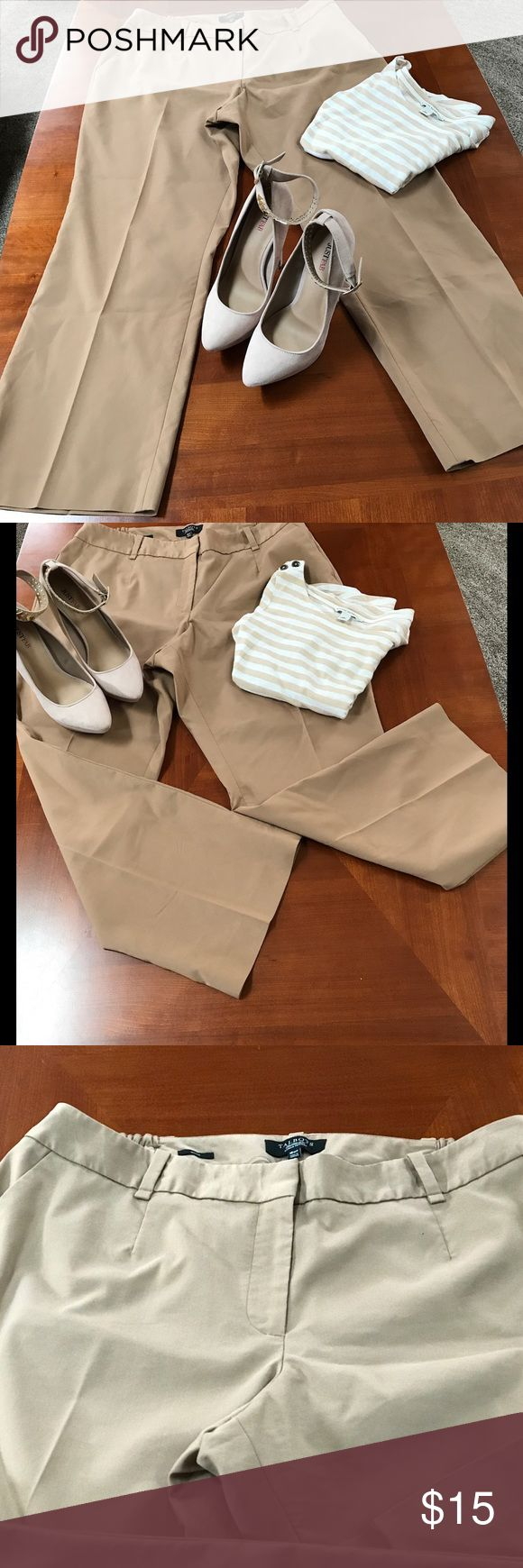 """Talbots Women's Petite Slacks Light brown cotton, polyester, and spandex petite 18W (Heritage) women's slacks.   Elastic on sides for extra comfort. Zipper front with button closure.  Pre-owned in vey good condition. 2 button pockets on back and 2 front pockets. 28 1/2"""" inseam, 10 1/2"""" across leg from knee to hem. Talbots Pants Trousers"""