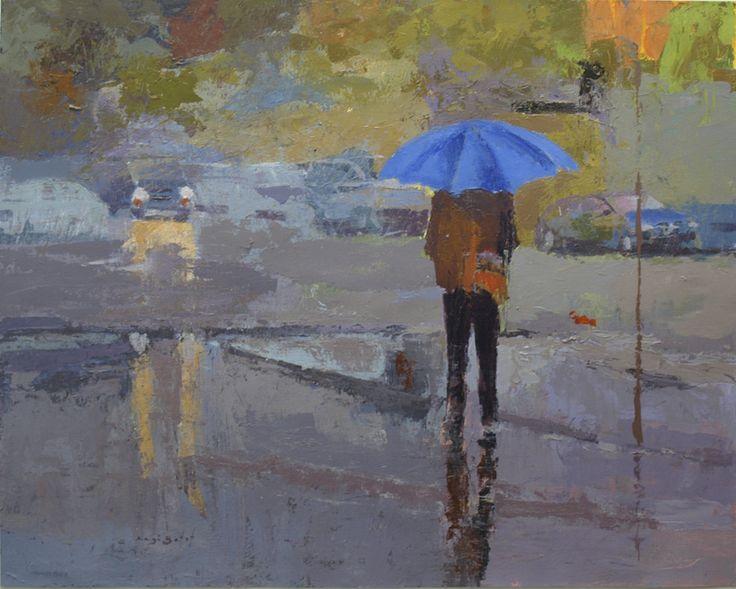 https://flic.kr/p/Bx7H8E | Día de lluvia III, El paraguas azul_ acrílico sobre tela 61X48 cm