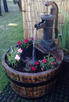 """Oak Barrel Water Feature 21"""" Pitcher Pump so neat for a small balcony too. You guys in UK have such GREAT reclamation yards where you can pick up all this stuff!!"""