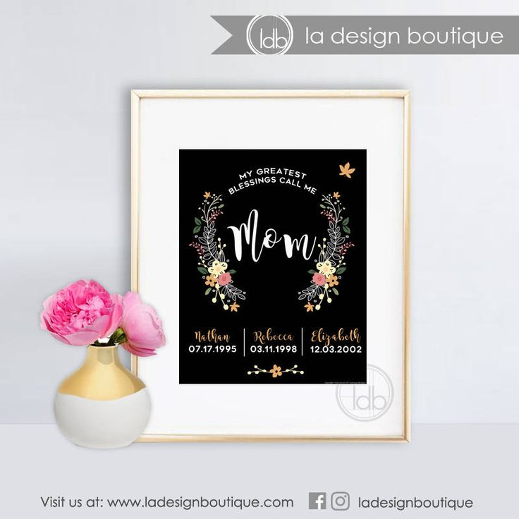 Mom's Greatest Blessings Mother's Day Gift Personalized Typography Floral Wreath Art Perfect Gift for Mom 8x10 FILE DOWNLOAD Printable Art by LaDesignBoutiqueShop on Etsy
