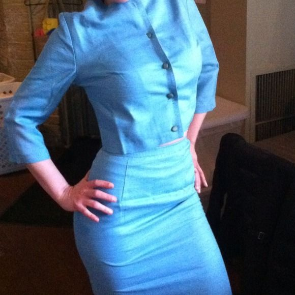 ✨Vintage NOS 60s Dress Suit ~ Mad Men!!! Adorable early 60s blue Jacket & Pencil Skirt combo.  New Old Stock with all tags still in place.  Tag states it is a size 7, however, with vintage sizing, this is more like a modern size 2. Vintage Dresses
