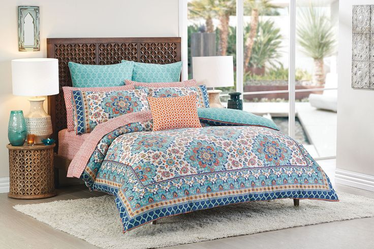 Traditional detailing reminiscent of Turkish tile patterns shine through in this colourful design #bedroom #bedbathntable