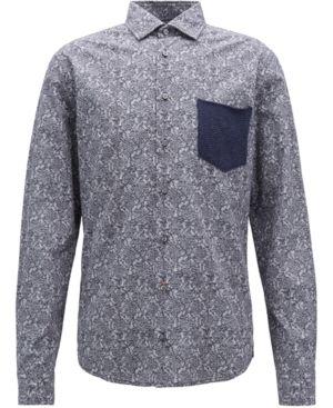 739f1bb8b Boss Men's Slim-Fit Cable-Knit Cotton Shirt - Blue L | Products ...