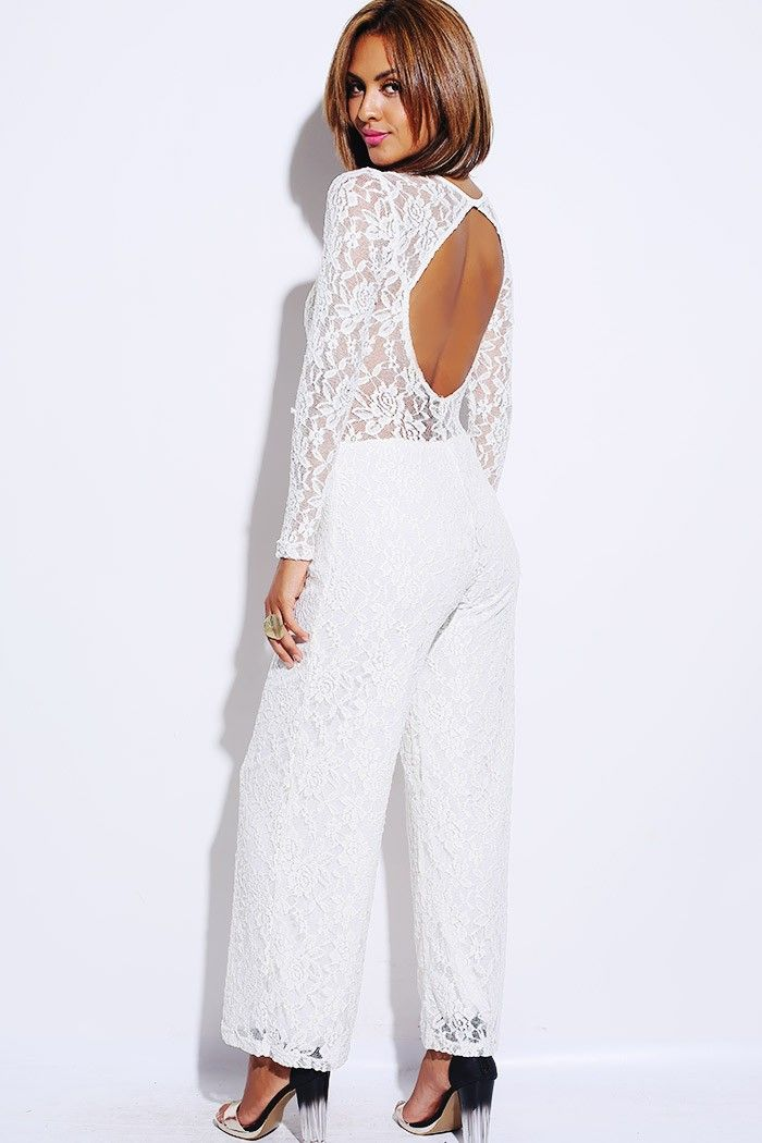Fashion Style Limited Edition Beige White Lace Backless Evening Jumpsuit 40