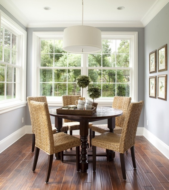 Painted Family Kitchen With Dining Nook: Dining: Grey + White + Timber (Paint Valspar Morning Lake