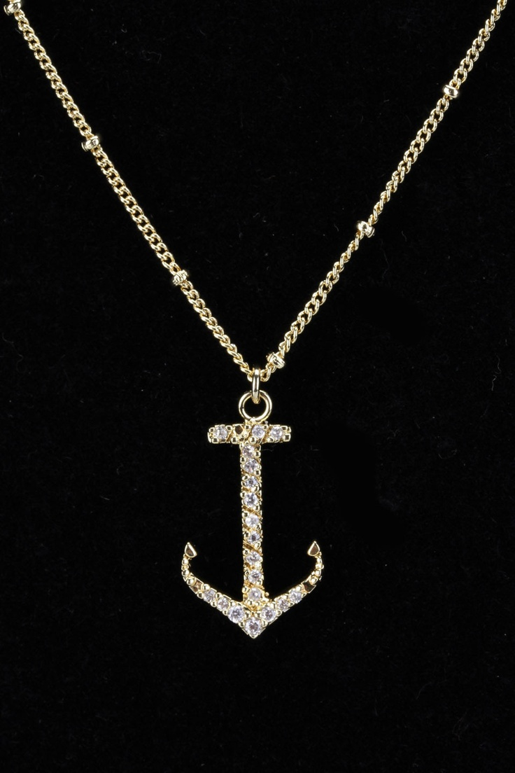 N' Luxe Cubic Zirconia Encrusted Anchor Necklace