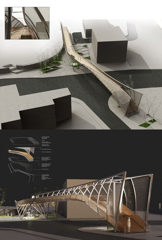 Cantilevered footbridge proposal in Pafos, Cyprus by EP Architects
