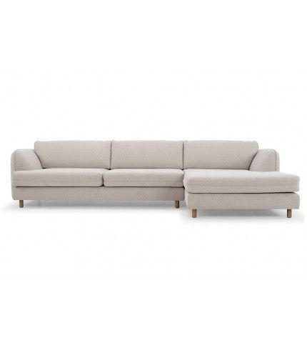 Eric, 3-seater sofa w/ chaiselong right, Lena Beige, Smoked Oak Legs