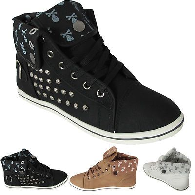 LADIES FLAT ANKLE BOOTS SPORTS HIGH HI TOP CUFFED STUDDED SKULL TRAINERS BOOTS SHOES 3 4 5 6 7 8