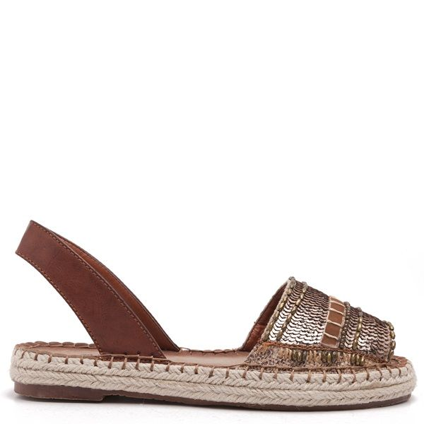 Brown espadrilles with beige piping and embroidered bronze sequins and beads on the toe cap.