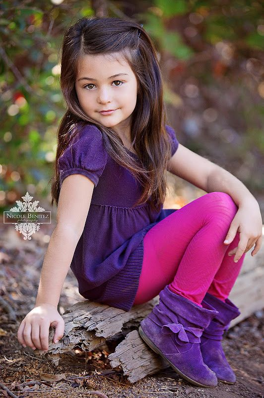 very young little girl models outdoors