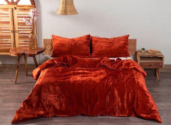 3 Pieces Set Luxury Crushed Velvet Duvet Cover Boho Bedding Uo Etsy In 2021 Velvet Duvet Velvet Bedding Sets Comforter Cover
