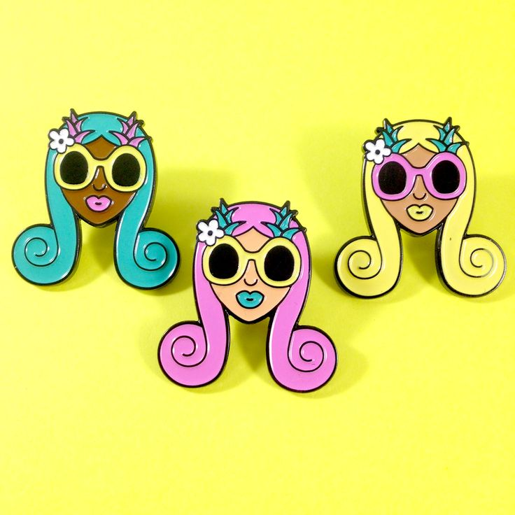 "These ladies have their pineapple sunglasses on and are ready for the beach. Choose your favorite!1.06"" x 1.13"" enamel pin. Butterfly clutch on back. You receive 1 pin."